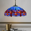 Dragonfly Chandelier Light Fixture Victorian Blue/Green/Orange Stained Glass 3 Lights Down Lighting for Living Room