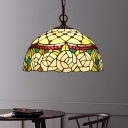 Red/Green Cut Glass Chandelier Pendant Light Dome 1/2 Lights Mediterranean Ceiling Lamp for Dining Room, 12
