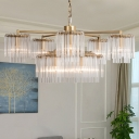 Gold 6/7/10 Lights Chandelier Traditional-Style Clear Crystal Cylinder Suspension Pendant Light
