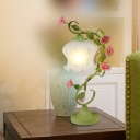 Flower Living Room Table Light Countryside Opal Frosted Glass 1 Head White/Green Nightstand Lamp