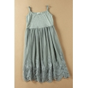Basic Pretty Ladies' Sleeveless Floral Embroidered Mesh Patched Scalloped Plain Mid Pleated A-Line Dress