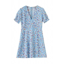 Cute Blue Short Sleeve V-Neck All Over Floral Printed Zip Back Lettuce Edge Short A-Line Dress for Girls
