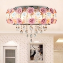 6/8 Heads Metal Flush Mount Pastoral Pink Drum Bedroom Close to Ceiling Lighting with Clear Crystal Drop