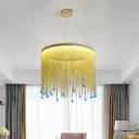 LED Pendant Chandelier Simple Chain Fringe Metal Hanging Ceiling Light in Silver/Gold for Bedroom, 16