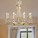 Gold 8 Lights Chandelier Pendant Light Rural Crystal Candlestick Ceiling Lamp for Bedroom