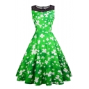 Pretty Women's Sleeveless Crew Neck Zip Back Fishnet Patched All Over Clover Print Midi Pleated Flared Dress in Green