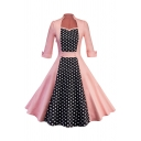 Women's Retro Roll Up Sleeve Sweetheart Sleeve Polka Dot Print Patched Midi Pleated Swing Dress