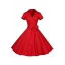 Vintage Short Sleeve Surplice Neck Bow Tie Waist Polka Dot Mid Pleated Swing Dress for Women