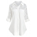 Casual Women's Roll Up Sleeve Lapel Neck Button Down Floral Embroidered Lace Patched Pleated Plain Shirt