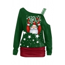 Christmas Pretty Long Sleeve One Shoulder Letter JOY Santa Claus Print Contrasted Relaxed Tee for Girls