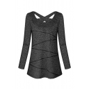 Basic Plain Cozy Long Sleeve Round Neck Hollow Out Back Contrasted Fitted T Shirt for Ladies
