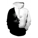 Couple Fashion Kiss 3D Pattern Long Sleeves Relaxed Loose Black and White Pullover Hoodie
