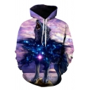 New Fashion Glitter Wolf 3D Pattern Long Sleeves Loose Fit Pullover Hoodie