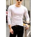 Men's Street Fashion Long Sleeve Crew Neck Slim Fit Solid Color T-Shirt
