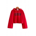 Stylish Letter SWAGGY MATCH POINT TOMMY Print Loose Fit Long Sleeves Crop Hoodie