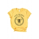 Fashion Girls' Yellow Roll Up Sleeve Crew Neck Letter SAVE THE BEES Bee Print Fitted T-Shirt