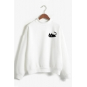 Womens Cute Black Cat Printed Long Sleeves Mock Neck Relaxed Sweatshirt