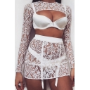 Womens Sexy Floral Lace Panel Long Sleeve Cutout Front Garter Lingerie Set