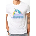White Popular Letter Rainbow Unicorn Printed Short Sleeves Casual Fitted T-Shirt