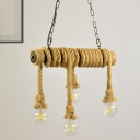 Lodge Style Exposed Island Lighting Rope 4 Lights Dining Room Island Ceiling Light in Beige