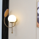 Matte White Glass Global Wall Sconce Retro 1 Light Gold/Black Wall Light Fixture with Reflector