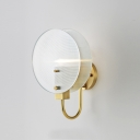 Chinese Style 1-Light Sconce Light Metal Brass Finish Curved Arm Wall Lamp with Round Opal Glossy Glass Shade