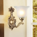 Classic Style Petal Wall Sconce Lighting 1/2-Head Opal Glass and Metal Wall Mount Light in Brass for Foyer