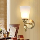 Cone Shade Indoor Wall Sconce Modernist Frosted Glass 1/2-Light Brass Finish Wall Light Fixture