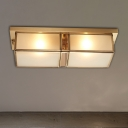 4-Light Frosted Glass Flush Ceiling Light Classic Brass Rectangle Living Room Flush Mount Lamp