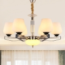 6 Lights Bedroom Chandelier Lamp Modern Style White Hanging Light with Tapered Cream Glass Shade