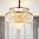12 Bulbs Layered Chandelier Lamp Modernism Crystal Suspension Pendant Light in Brass