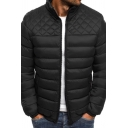 Mens Winter Popular Plain Stand Collar Long Sleeve Zip Up Quilted Down Coat