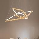 Rectangle Chandelier Light Fixture Modern Crystal LED Gold Ceiling Pendant Light in 3 Color/Inner Warm Outer White/Inner White Outer Warm Light