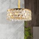 Crystal Prism Drum Hanging Chandelier Modern LED 6 Lights Gold Ceiling Lamp for Bedroom