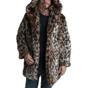 Mens Warm Leopard Printed Long Sleeve Open Front Brown Loose Faux Fur Hooded Coat