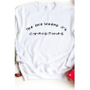 THE ONE WHERE IT'S CHRISTMAS Letter Printed Long Sleeve Round Neck Loose Sweatshirt
