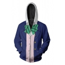 Unisex Fashion Bow 3D Pattern Long Sleeves Zip Up Blue and White Cosplay Hoodie