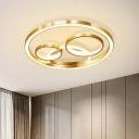 Ring Ceiling Light Fixture Postmodern Acrylic Gold LED Flush Mount for Bedroom, 18