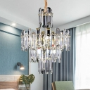 Clear Beveled Crystal 3 Layers Chandelier Light Fixture Postmodern 8/12 Heads Living Room Hanging Light