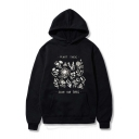 Unisex Cartoon Floral Letter PLANT THESE SAVE THE BEES Print Long Sleeve Boxy Hoodie