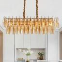 Rectangle Dining Room Chandelier Light Traditional Amber Glass 6 Heads Gold Hanging Light Kit