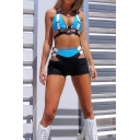 Ladies Designer Push Buckle Halter Bikini Top with Hollow Out Ribbon Embellished Shorts Co-ords