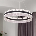 Ring Living Room Chandelier Lighting Fixture Crystal LED Modern Hanging Ceiling Light in Black/Gold