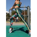 Fashionable Tropical Leaf Pattern Racerback Crop Tank with Striped Side Pants Sports Set
