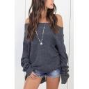 Dressy Stylish Ladies' Batwing Sleeve Off The Shoulder Chunky Knitted Asymmetric Plain Oversize Pullover Sweater