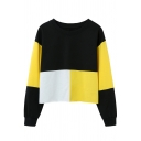 Chic Cool Girls' Long Sleeve Round Neck Contrasted Patched Baggy Pullover Sweatshirt