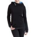 Personality Button Embellished Funnel Neck Long Sleeve Pouch Pocket Slim Fit Plain Hoodie