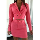 Office Womens Popular Double Button Cropped Blazer with Mini Skirt Solid Color Suit Set