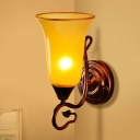 Yellow Glass Bell Sconce Light Fixture Traditional Style 1 Head Copper Finish Wall Mount Light for Bedroom