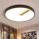 Metal Disk Flush Mount Fixture Minimalist Black/White LED Ceiling Lamp in Remote Control Stepless Dimming/Warm/White Light, 18